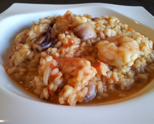 Monkfish creamy rice, squid and red shrimp