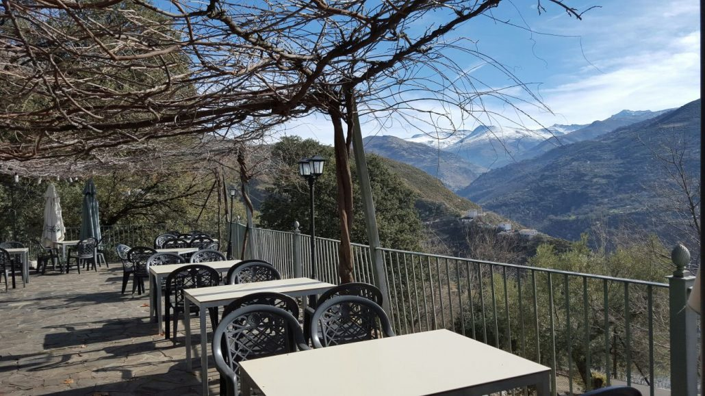 View from the restaurant terrace Scorching Las Lomas in the Sierra Guejar