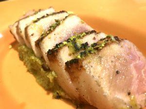 Lomo de cerdo ibérico con pistachos