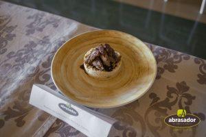 Iberian risotto and porcini lardones