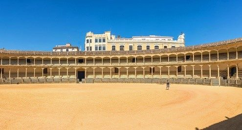 Panoramic image of the bullring in Ronda