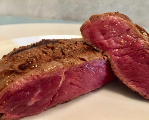 Ejemplo del interior de una pieza de carne poco hecha