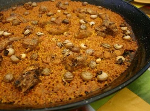Photo Rice with rabbit and snails