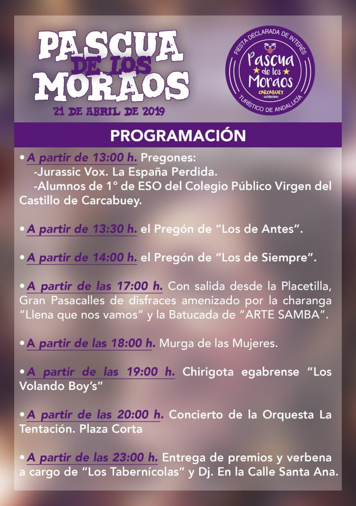Easter schedule of Moraos in Carcabuey (Córdoba)