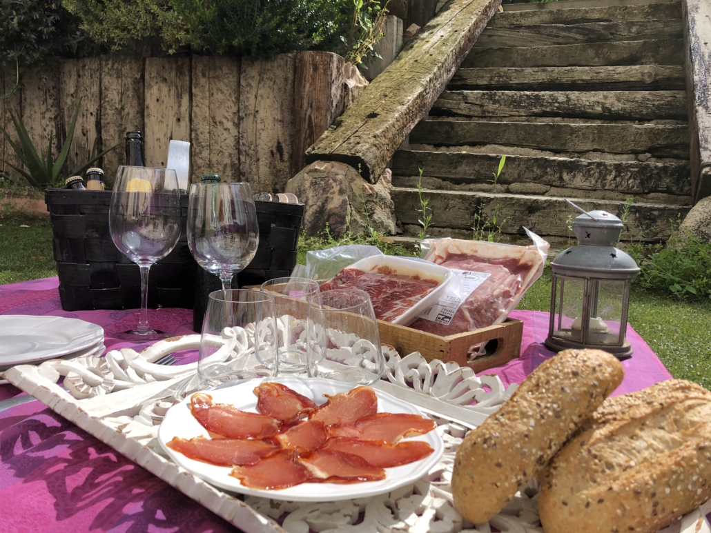 Picnic in the garden with scorching meats