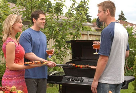 Couple and friend barbecue 25 to 30 years old 30 to 40 years old barbecue colour connotation couple discussion food friendship front view garden general shot grill horizontal man meal meat neighbour outside people place several men smile summer three people